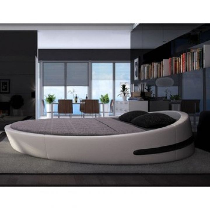 giường tròn màu trắng cao cấp