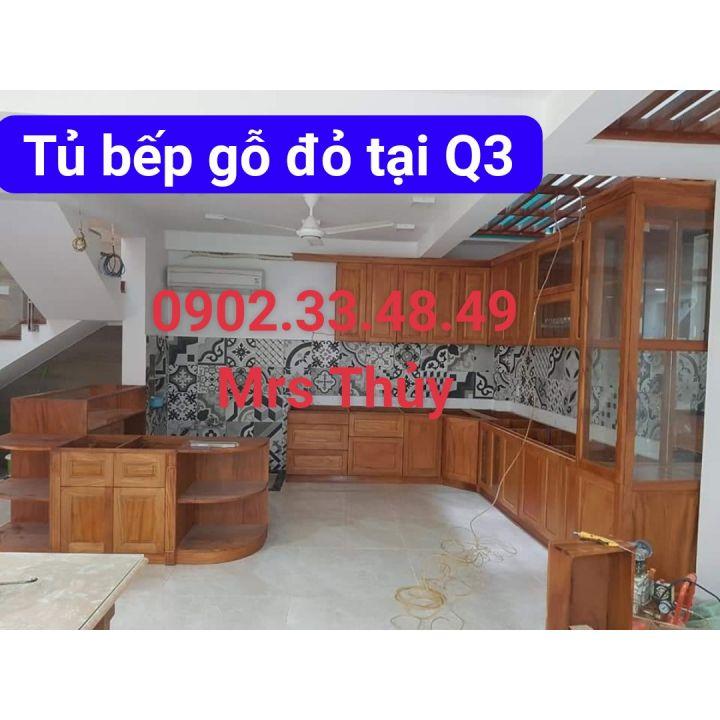 tủ bếp gỗ đỏ cao cấp